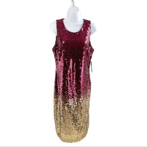 New York & Company Sequin Dress Maroon Gold Small